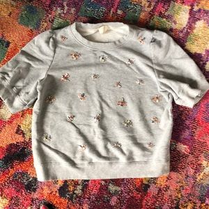 Kate Spade Bee embellished Shortsleeve sweatshirt